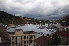 Balaklava bay. In rainy weather, the Crimea, the city of Sevastopol Royalty Free Stock Photos