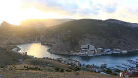 Balaklava Bay on a sunset, Crimea stock footage