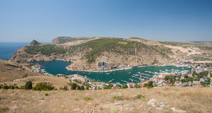 Balaklava bay with yachts and small ships Stock Photo