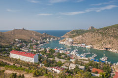 Balaklava bay with yachts and small ships Royalty Free Stock Image