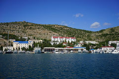 Balaklava Crimea. The blue sea and the town of Balaklava Royalty Free Stock Images