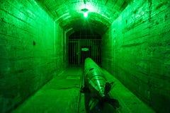 Balaklava, Crimea - September 2016: Marine torpedo - armed submarine. Underground submarine base and weapons during the Cold War in Sevastopol Stock Image