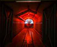 Balaklava, Crimea - September 2016: Red light corridor inside the Naval museum submarine complex. Crimea, Russia Royalty Free Stock Photos