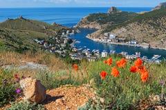 Balaklava is popular Crimean resort. Bay former submarine base. Royalty Free Stock Photos