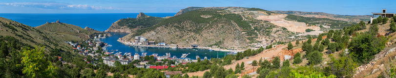 Balaklava is popular Crimean resort. Bay former submarine base. Royalty Free Stock Image
