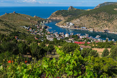 Balaklava is popular Crimean resort. Bay former submarine base. Stock Photos