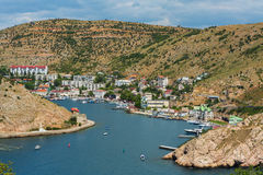 Balaklava is popular Crimean resort. Bay former submarine base. Stock Image