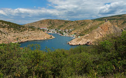 Balaklava is popular Crimean resort. Bay former submarine base. Stock Photo