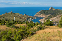 Balaklava is popular Crimean resort. Bay former submarine base. Stock Images