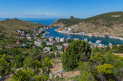 Balaklava is popular Crimean resort. Bay former submarine base. Stock Photography