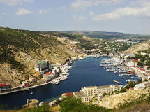 Balaklava town and Balaklava Bay, Crimea Stock Image