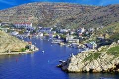 Balaklava town and Balaklava Bay. Crimea, Ukraine stock photos