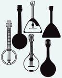 Balalaika, Banjo, Ukrainian kobza. Musical string instrument. Isolated on blue background. Vector silhouettes Royalty Free Stock Photo