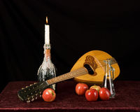 Balalaika and fruit Stock Photo