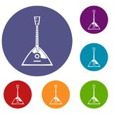 Balalaika icons set. In flat circle reb, blue and green color for web Stock Images
