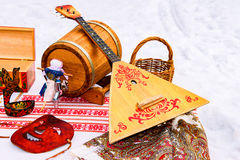 Balalaika and other products of Russian folk art Stock Images
