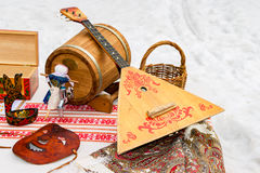 Balalaika and other products of Russian folk art Stock Photography