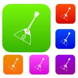 Balalaika set collection. Balalaika set icon in different colors isolated vector illustration. Premium collection Stock Images