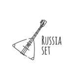 Balalajkasymbol i översiktsstil som isoleras på vit bakgrund Ryskt landssymbol också vektor för coreldrawillustration Fotografering för Bildbyråer