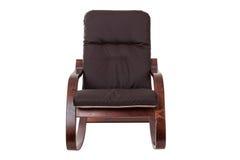 Balançar-cadeira de Brown isolada em um fundo branco foto de stock royalty free
