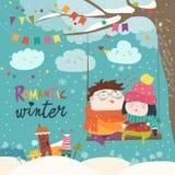 Balanço bonito dos pares dos desenhos animados do inverno Fotos de Stock