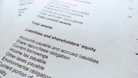 Balanço da renda do balanço financeiro, análise do plano de negócios video estoque