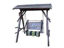 Balanço de madeira com o tapete isolado no branco Imagens de Stock