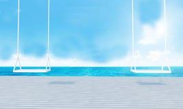 Balanço de madeira com opinião do mar da sala de estar da praia e o renderin azul de sky-3d Imagem de Stock