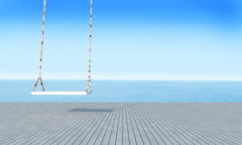 Balanço de madeira com opinião do mar da sala de estar da praia e o renderin azul de sky-3d Imagem de Stock Royalty Free