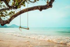 Balanço de madeira na praia tropical Imagem de Stock