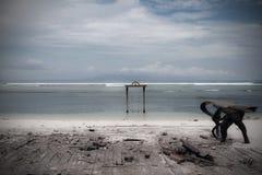 Balanço de madeira no mar imagem de stock royalty free