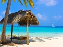 Balanço em uma praia tropical Foto de Stock Royalty Free