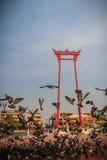 Balanço gigante do vintage ou Sao vermelho Ching Cha com a multidão de pigeo Foto de Stock