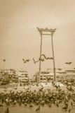 Balanço gigante do vintage ou Sao vermelho Ching Cha com a multidão de pigeo Imagem de Stock