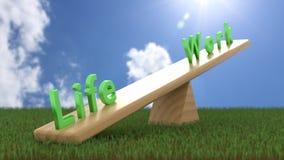 A balancê com dreen a vida das palavras e funciona o conceito do equilíbrio da trabalho-vida Fotos de Stock