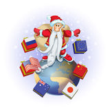 Balance. Santa Claus standing on the globe with boxes, color illustration Stock Photography