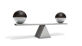 Balance. 3d rendering of two spheres in balance Stock Photography