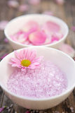 Balance. Aromatherapy salts & flowers - shallow depth of field Stock Images