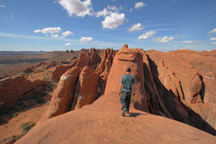 Balance. Walking along the fins in the fierry furnace, a self portrait in arches national park utah Fierry furnace stock photography