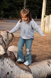 Balance. Four year old girl trying to keep her balance as she walks along a fallen tree Stock Photography