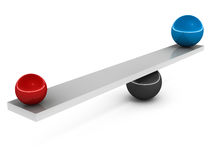 Balance. Concept of balance, smaller ball at distance equals the weight of larger ball near the fulcrum stock illustration