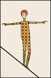Balance. Wood person balancing on a tight rope, red hair, patterned clothing, green socks, white-face clown like Stock Photo