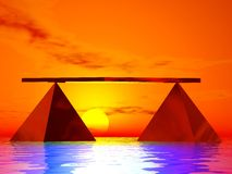 Balance 6. Illustrated pyramids and universal zen balance Stock Photo