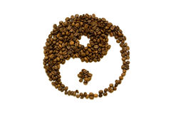 Balance. In and Yan made of coffee beans isolated on white background Royalty Free Stock Photo