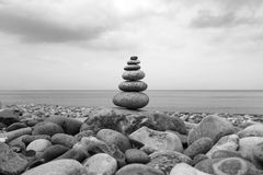 Balance. A small work of art, at the beach of cooling fount, Germany royalty free stock photo