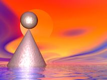 Balance 7. Illustrated cone and universal zen balance Stock Photography