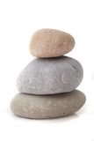 Balance. Three fine polished rocks lying one upon another. All isolated on white background Stock Images