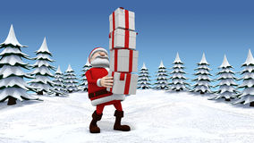 Balance act. 3d rendering/illustration of a cartoon santa balancing a high stack of presents in a snow covered landscape Stock Image
