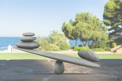 Balance. Weight scale stone simplicity comparison winning im royalty free stock image