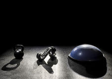 Balance ball boxing gloves kettle bell Royalty Free Stock Photography